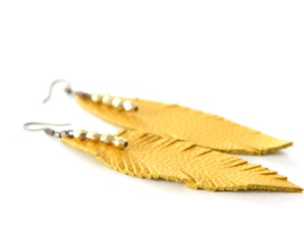 Mustard feather earrings, Leather earrings, Feather earrings, Mustard earrings, Mustard and Gold