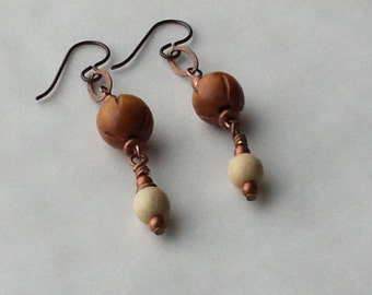 ANTIQUE COPPER and WOOD Earrings Matching Necklace