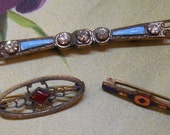 Antique Blue Enamel & Rhinestones Bar Pin Brooch Barpin + 2 Small Pins