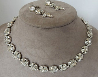 BOGOFF Clear Rhinestone Choke Necklace & Earrings Set