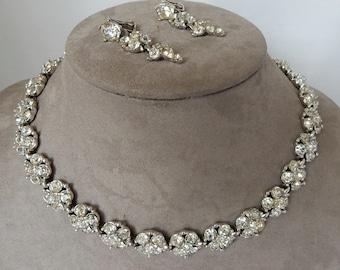 BOGOFF Clear Rhinestone Choke Necklace & Earrings Set    NBI14