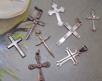 8 Sterling Silver Religious Cross Charms for Bracelet Lot
