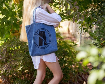 No Pants Allowed Denim Tote Bag