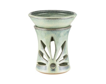 Hand thrown pottery tart warmer, scented oil warmer in Lagoon Glaze. Wheel thrown pottery with hand carved accent. Essential oil diffuser