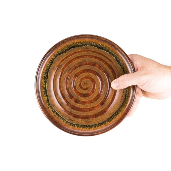 wheel thrown stoneware pottery salad plate in