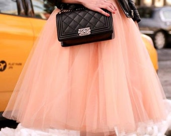 Light Peach Tulle Tutu Skirt, Adult, Women