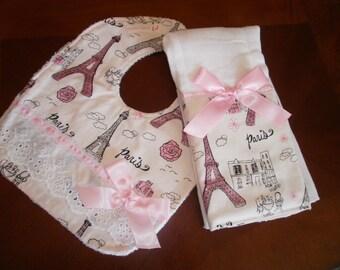 Burp Cloth & Bib Set,Paris Pink, Baby Girl Bib, Baby Girl Burp Cloth Set, Baby Shower, Baby Gift, Newborn, Girl Set, Girls Bib Set,