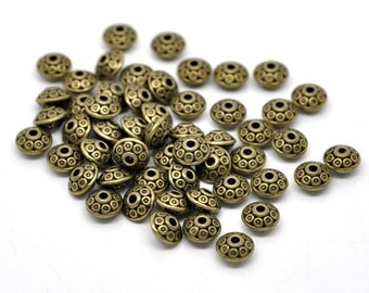 25 or 100 pcs Antique Bronze Filigree Carved Bicone Spacer Beads- 6mm x 4mm