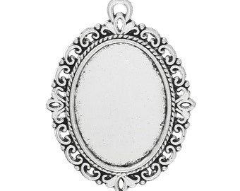 10pcs. Antique Silver Oval Pendant Picture Photo Frame Bezel Setting Pendants Charms - 39mm x 29mm - Fits 25mm x 18mm Cabochons / Cameos
