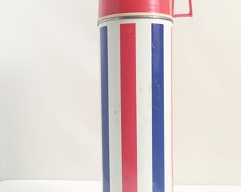 ON SALE Vintage, 1970s, Red, White, Blue, Metal, Thermos, Mid Century, Retro Travel, Serving Container