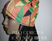 Kente Print Ankara Jersey Tambo Collection Loc Sock Hair Tube/ Stretchy Spandex Head Wrap/ Head wrap/Head band/Hair Stockings