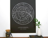 Sagan Star Chart - Black | Constellation Print | Star Map | Astronomy Chart | Educational Science Illustration