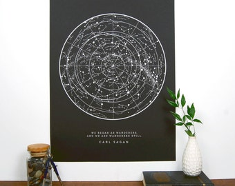 Sagan Star Chart - Black | Constellation Print | Star Map | Astronomy Chart