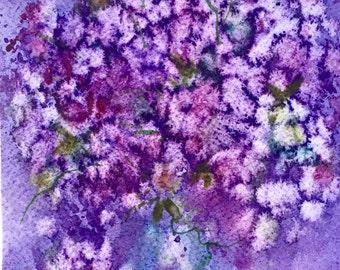 Watercolor Floral in purple Lavender Lilacs