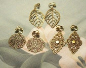 Clip on or Pierced 3 Pair Lightweight Antiqued Gold Earrings Gift Pack, Leaf, Diamond, Flower