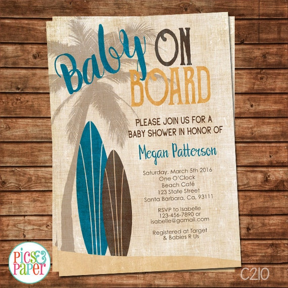 Surf Baby Shower Invitation Vintage Style Baby On By