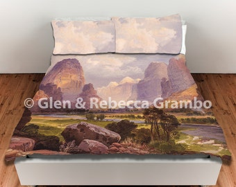 Duvet Cover, King Duvet Cover, Queen Duvet Cover, Moran's Valley of the Bubbling Waters, Utah, Bedroom Decor, Landscape Art