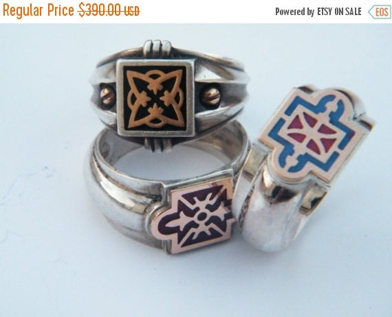 ON SALE Unisex Ring Sterling Silver with 9k Gold and Enamel for Men and Women