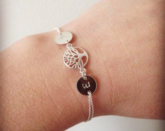 Tree of life bracelet, personalised,  family tree bracelet,silver tree, initial bracelet, friendship bracelet