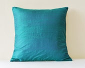 Teal Dupioni Silk and Natural Linen Reversible Pillow Cover , Dark Turq and Natural Linen Accent Pillow , Teal Silk & Linen Scatter Cushion