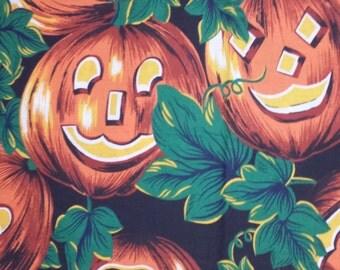 Happy Pumpkins Fabric - estate sale find - Odd cut, 1 yard + cotton print