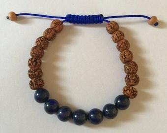 Tibetan mala Rudraksha and Lapis Lazuli wrist mala Yoga Bracelet for meditation