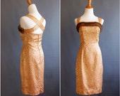 1950s mink / gold / pink glamour wiggle dress custom made brocade Jayne Mansfield pinup cocktail dress Barbie doll 1950s dress