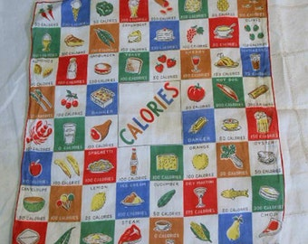 Vintage CALORIE COUNTER Linen HANKIE from Artichokes to Martinis to Lobster, Bright Colors Red Hems, 1960s Too Cute Handy Diet Aid Kitsch