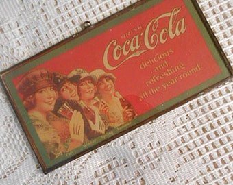 Rare COCA COLA 4 SEASONS 1940's Ad Fun Ladies in Boho Hats White Gloves Fall Winter Spring Summer Coke Bottles, Metal Frame Glass Cover Loop