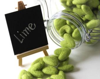 Felt Hearts- Lime Green- 10 Pack