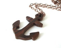 Rustic Anchor Necklace Scroll Saw Wood Pendant Nautical Beach Jewelry Christian Symbol Hand Cut