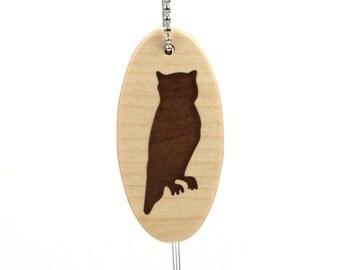 Wood Owl Key Chain Woodland Owl Key Ring Wooden Animal Key Chain Woodland Accessories Owl Key Fob Scroll Saw Key Chain Walnut