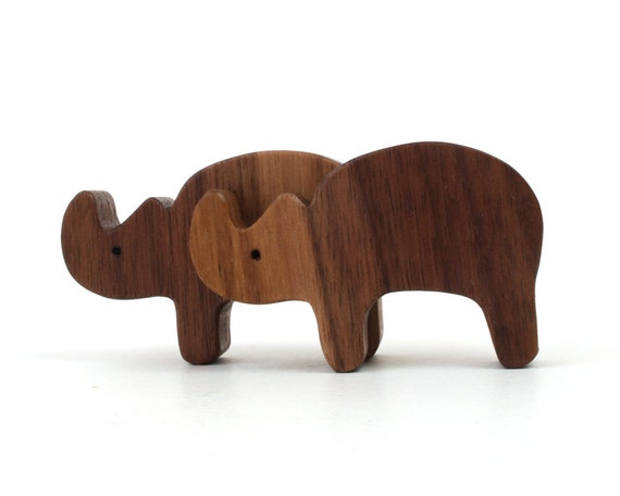 Wood Toy Animals Rhinoceros Miniature Wooden Rhino Noah's Ark  Zoo Play Set Miniature Animal Figures