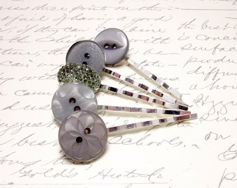 Slate Gray Button Bobby Pins. Everyday Neutral Hair Accessory. Simple Hair Jewelry. Steel Gray Hair Pins.