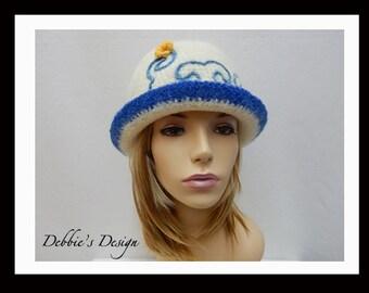 Women's Handmade Felted Cloche Hat-484 SALE Women's Handmade Felted Cloche Hat, Accessories, Hat, Handmade, cloche felt hat, Downton abbey