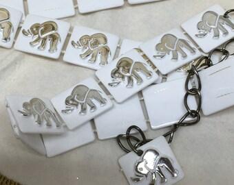 Vintage Mod Belt Silver White Elephants