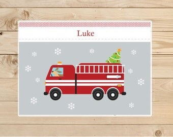 Christmas gifts - Firetruck-Dog-placemat---Kids-Personalized-Placemat-for-Christmas