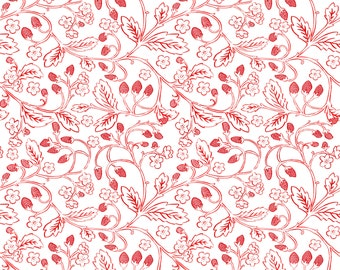 French Hen - Wild Berries in White by Molly Hatch for Blend Fabrics