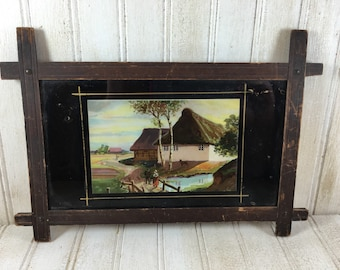 Vintage Landscape Painting Under Painted Glass in Wooden Frame