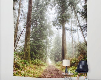 Tapestry, Surreal Forest, Fog, Trail, Leaves, Wall Hanging, Green, White, Brown, 3 Sizes