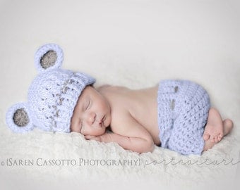 Newborn Hat and Shorts Outfit, Baby Boy Set, Baby Boy Monkey Hat, Baby Blue Hat, Grey Ears, Baby Shorts. Children Photo Props. Hats and Caps