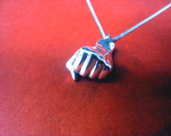 Fist necklace, solidarity venceremos jewelry charm, clenched fist, Valentines day, sterling silver, unity sign, handmade jewelry