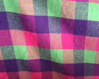 Pink, Lime and purple check -woven 100% cotton