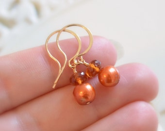Hessonite Garnet Earrings, Burnt Orange Jewelry, Real Gemstone and Freshwater Pearl, Autumn Earrings, Gold Jewelry, Free Shipping