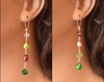 Christmas Earrings, Mismatched Earrings, Sterling Silver or Gold, Holiday Jewelry, Peridot Garnet Rose Quartz Pearl, Free Shipping