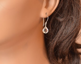 Crystal Quartz Drop Earrings, Sterling Silver, Wire Wrapped, Semiprecious Stone, Simple Gemstone Jewelry, Free Shipping