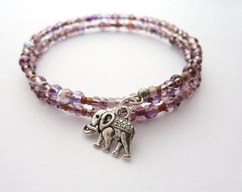 Elephant Bracelet, Bead Wrap Bracelet, Purple Bead Bangle, Charm Bracelet, Stacking Bracelet, Gift for Her, UK Jewellery
