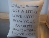 Dad pillow, gift to dad from daughter, cotton canvas throw pillow, long distance gift, gift for daddy, quote cushion, dad birthday gift