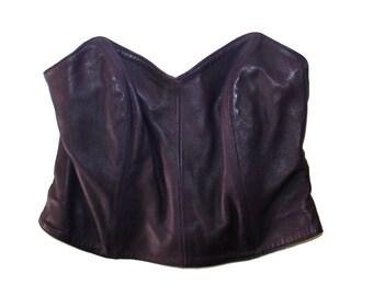 90's Vintage Leather Bustier - Vintage lingerie purple corset Kol's vintage purple