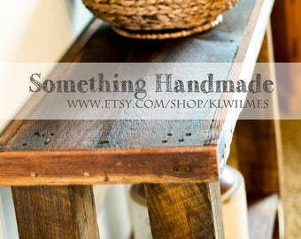 Barn wood  rustic Sofa table  or console table made from 1892 reclaimed  barn wood
